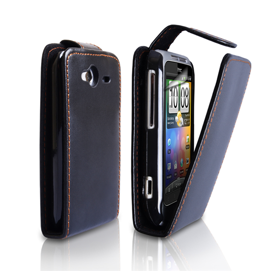 Yousave Accessories HTC Wildfire S Leather Effect Flip Case - Black