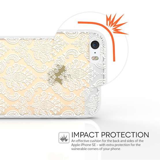 YouSave Accessories Accessories iPhone 5 and SE TPU Hard Case - Damask White
