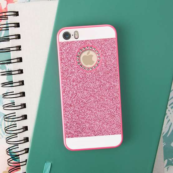 YouSave Accessories Accessories iPhone SE Flash Diamond Case - Pink
