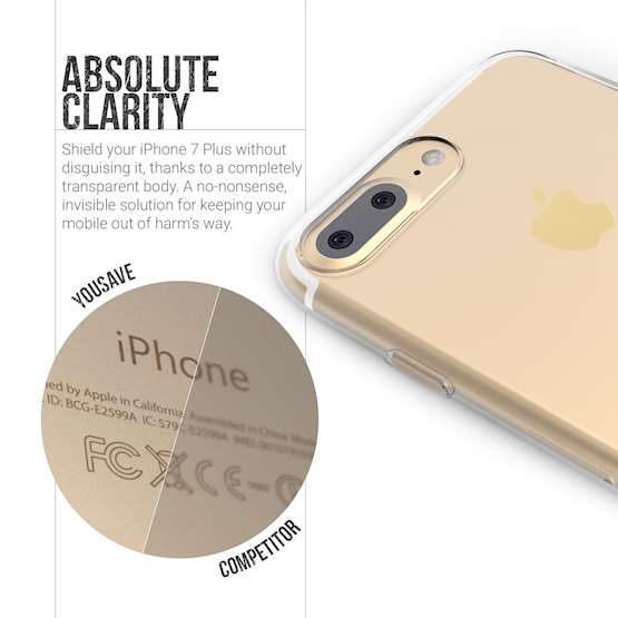 YouSave Accessories iPhone 7 Plus Ultra Thin Gel Case - Clear