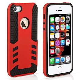 YouSave Accessories iPhone 5 and 5S / SE Border Combo Case - Red