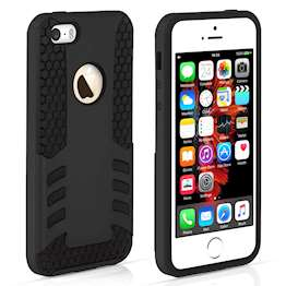 YouSave Accessories iPhone 5 and 5S / SE Border Combo Case - Black