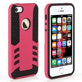 YouSave Accessories iPhone 5 and 5S / SE Border Combo Case - Hot Pink