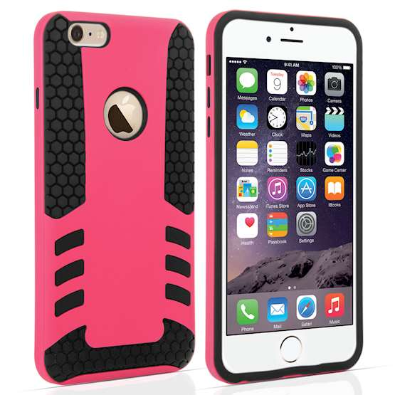 YouSave Accessories iPhone 6 Plus Border Combo Case - Hot Pink