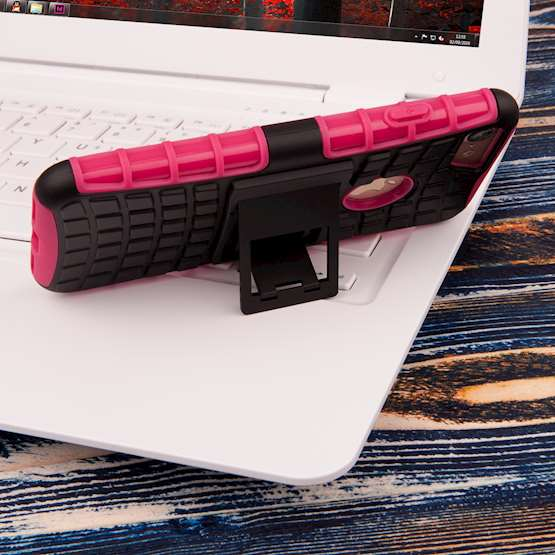 YouSave Accessories iPhone 7 Kickstand Combo Case - Hot Pink