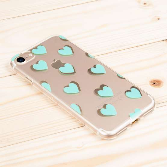YouSave Accessories iPhone 7 Gel - Green Hearts