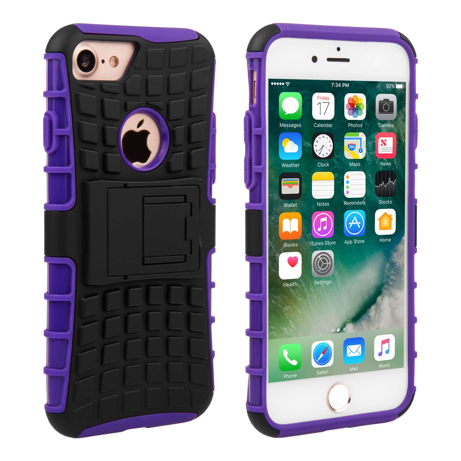 yousave accessories iphone 7 kickstand combo case purple. Black Bedroom Furniture Sets. Home Design Ideas