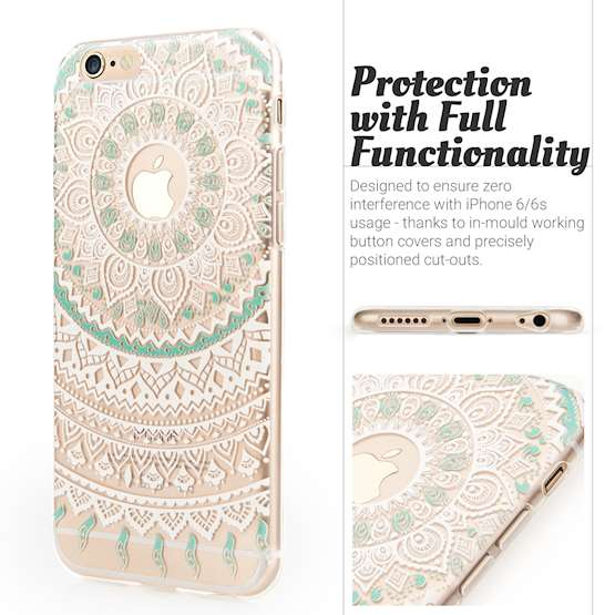 YouSave iPhone 6 and 6s TPU Mandala Printed Pattern Clear Gel Case - Turquoise-White