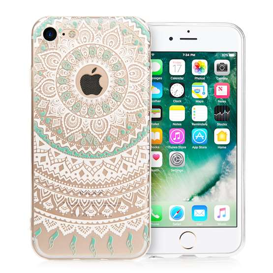YouSave iPhone 7 TPU Mandala Printed Pattern Clear Gel Case - Turquoise-White