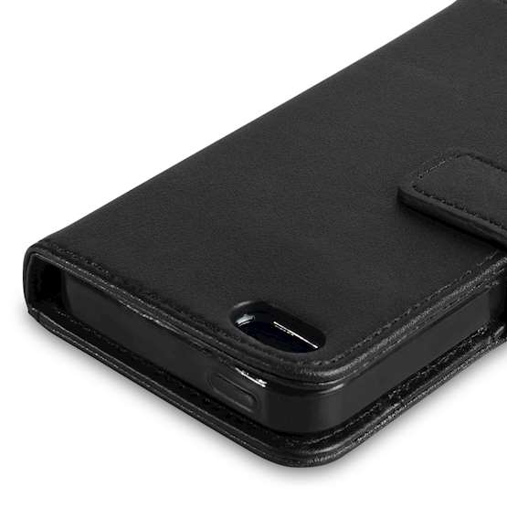 YouSave Accessories Apple iPhone 5 Real Leather Wallet Black Case