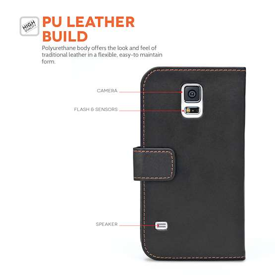 Samsung Galaxy S5 Leather-Effect Wallet Case - Black
