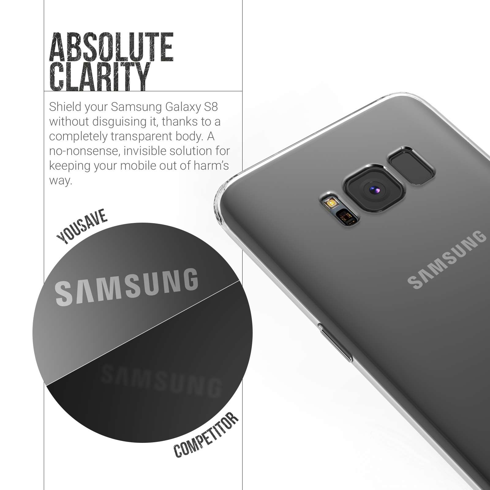 the latest f5ffe a77cf YouSave Accessories Samsung Galaxy S8 Ultra Thin Gel Case - Clear