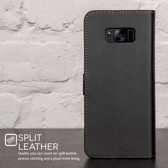 YouSave Accessories Samsung Galaxy S8 Plus Leather-Effect Stand Wallet - Black