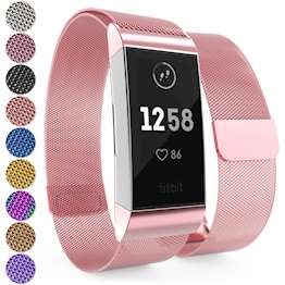 Brushed Stainless Steel Magnetic Replacement Wristband with Fully Adjustable Milanese Loop Design for the FitBit Charge 3 - Rose-Pink