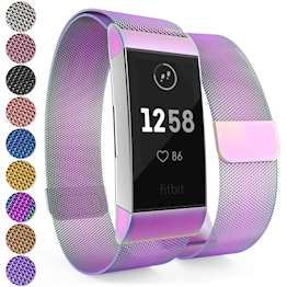 Brushed Stainless Steel Magnetic Replacement Wristband with Fully Adjustable Milanese Loop Design for the FitBit Charge 3 - Multi-Coloured