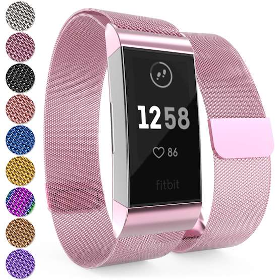 Brushed Stainless Steel Magnetic Replacement Wristband with Fully Adjustable Milanese Loop Design for the FitBit Charge 3 - Pink