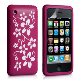 Yousave Accessories iPhone 3 Dark Pink Floral Silicone Case