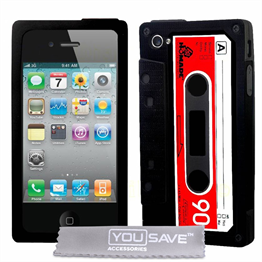 Yousave Accessories Apple iPhone 4 Cassette Black Case