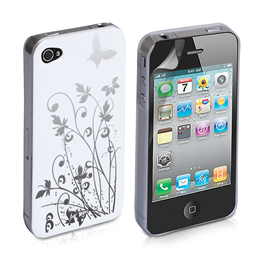 Yousave Accessories iPod Touch 4 White/Silver Butterfly Hard; Case