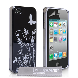 Yousave Accessories iPhone 4 / 4S Floral Butterfly Hard Case - Black-Silver