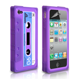 Yousave Accessories Apple iPhone 4S Cassette Purple Case