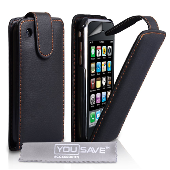 Yousave Accessories Apple iPhone 3 Flip Pu - Black