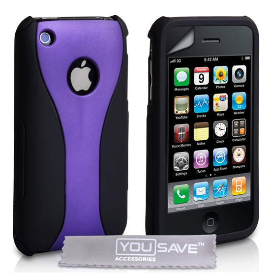 Yousave Accessories iPhone 3 Purple/Black Dual Hybrid Hard Case