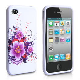 Yousave Accessories Apple iPhone 4 Flower (Design 3) Purple Case