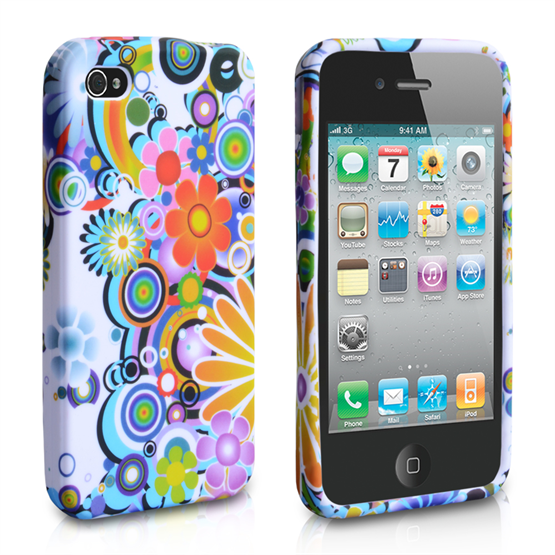 Yousave Accessories Apple iPhone 4 Floral (Design 4) Multicoloured Case
