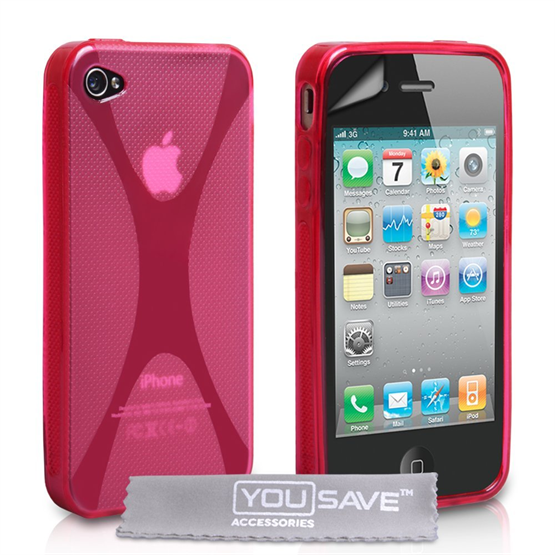 Yousave Accessories iPhone 4 / 4S Silicone Gel X-Line Case - Pink