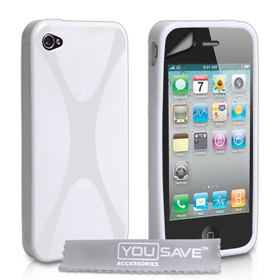 Yousave Accessories iPhone 4 / 4S Silicone Gel X-Line Case - White