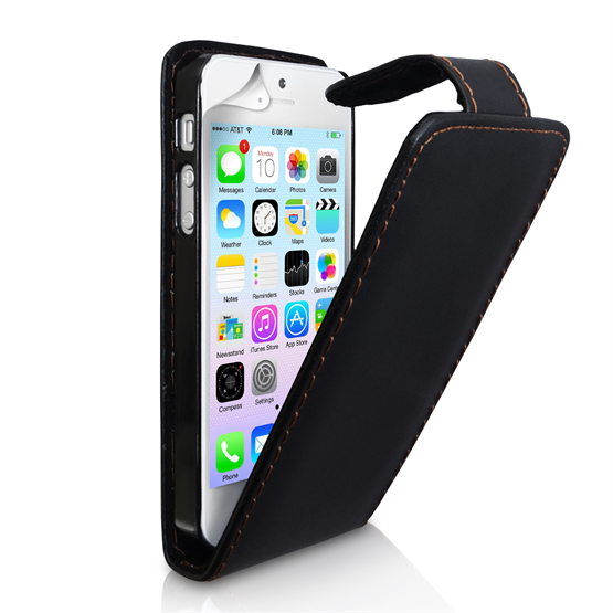 Yousave Accessories iPhone 5/5S Leather-Effect Flip Case - Black