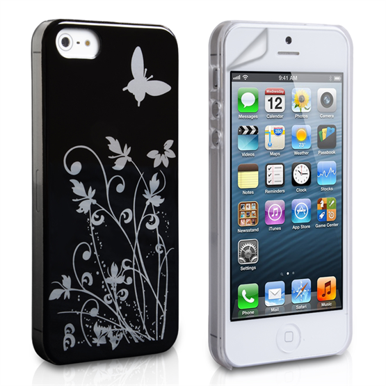 YouSave iPhone SE Floral Butterfly Hard Case - Black-Silver