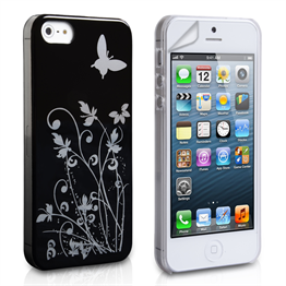 Yousave Accessories iPhone 5/5S Floral Butterfly Hard Case - Black-Silver