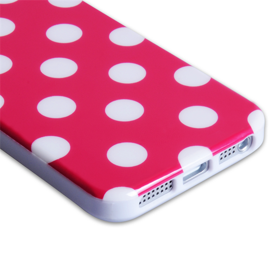 Yousave Accessories Apple iPhone 5 Polka Dot Hot Pink Case