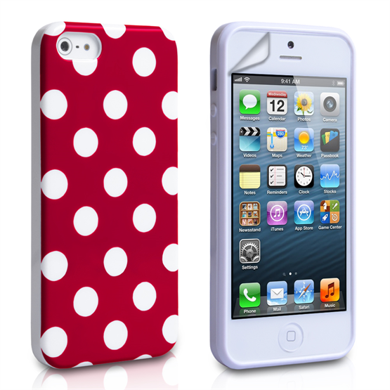 Yousave Accessories Apple iPhone 5 Polka Dot Red Case