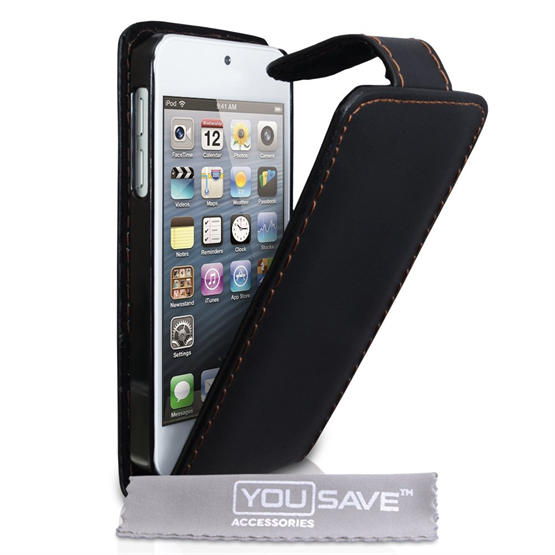 Yousave Accessories iPod Touch 5 Leather Effect Flip Case - Black