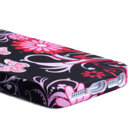 YouSave iPhone SE Floral Butterfly Hard Case - Pink-Black