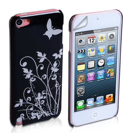 Yousave Accessories iPod Touch 5 Floral Butterfly Hard Case - Black/Silver