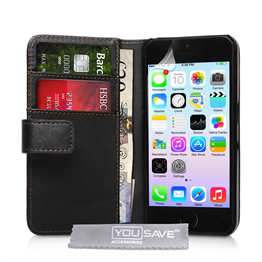 YouSave Accessories iPhone SE Leather Effect Wallet Case - Black