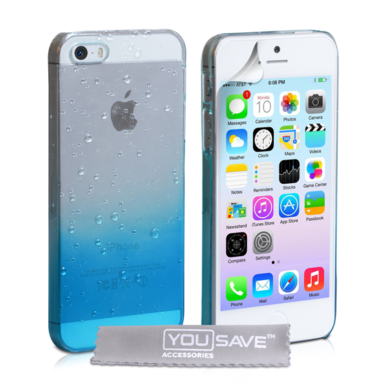 YouSave Accessories iPhone SE Raindrop Hard Case - Blue-Clear