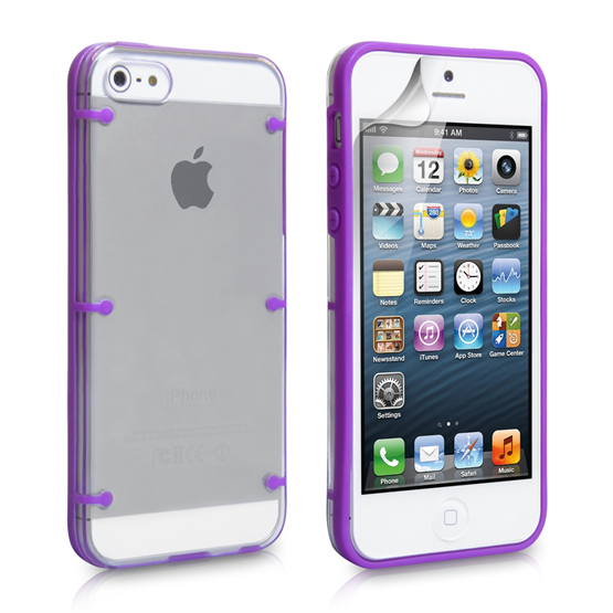 YouSave iPhone SE 6 Dot Design Gel and Hard Hybrid Case - Purple