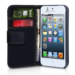Yousave Accessories iPhone 5C Leather-Effect Wallet Case - Black