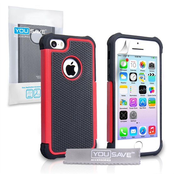 Yousave Accessories Apple iPhone 5S Grip Combo Red Case