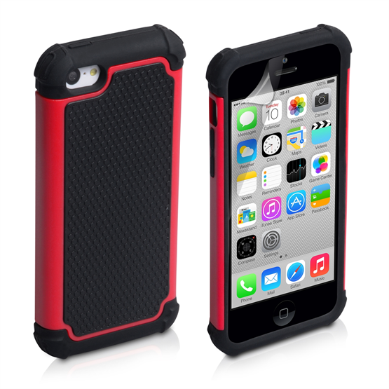 Yousave Accessories Apple iPhone 5C Grip Combo Red Case