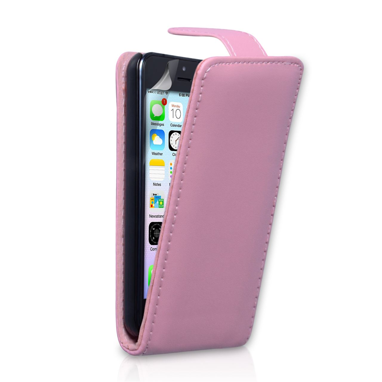 cheaper 47306 d8ed3 YouSave Accessories iPhone 5C Leather Effect Flip Case - Baby Pink