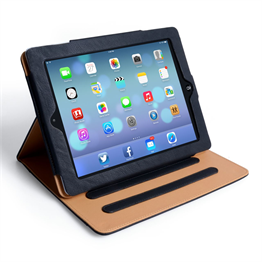 Yousave Accessories Apple iPad Air Pu Stand Tan Lining Black Case