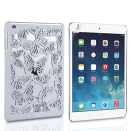 Yousave Accessories Apple iPad Mini 2 Butterfly Cut-Out White Case