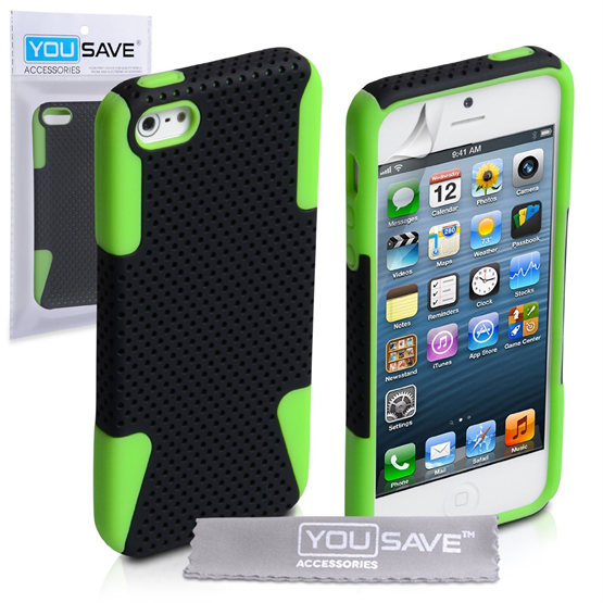 Yousave Accessories iPhone 3 Green/Black Hybrid Hard
