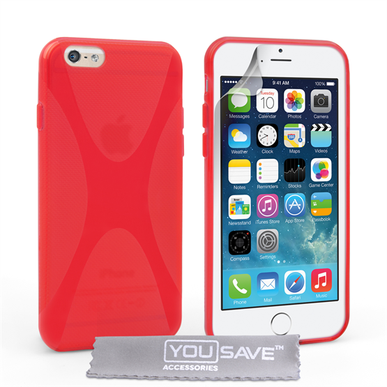 Yousave Accessories iPhone 6 and 6s Silicone Gel X-Line Case - Red
